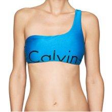 Calvin Klein Plavková podprsenka One Shoulder Bralette-RP KW0KW00054-488 Blue Jewel