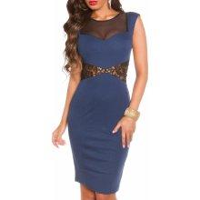 KouCla dámské pouzdrové šaty s krajkou a krátkými rukávy modrá 72c77cb041
