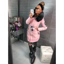 Dámská bunda s kožíškem růžová