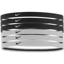 Nike Swoosh Sport Headbands Čelenky 2.0 se silikonem 6 ks ČERNÁ BÍLÁ