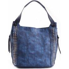 Bright kabelka přes rameno žíhaná se cvočky A4 modrá 56461574340