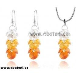 Swarovski Xilion Rivoli stříbrná souprava hrozen s krystaly 39104.2  Tangerine oranžová Rivolkový přívěšek řetízek náušnice hrozny 36f8a4c9a3e