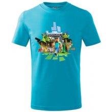 Minecraft dětské tričko 2 tyrkysová