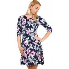 Dámské květované šaty s 3 4 rukávem 313358 tmavě modrá f3f51f0d3b