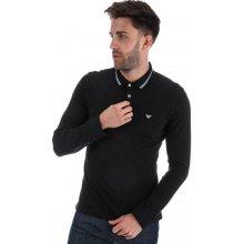 ! Armani Mens LS Tipped Polo Shirt Black