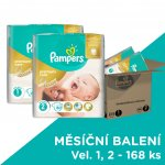 Pampers Premium Care 1 Newborn + Premium Care 2 MINI 168 ks