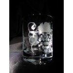 Lužické sklo Skleničky broušené panáky/rum/slivovice dekor Víno P-337 dárkové balení satén 60 ml 6 ks