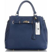 9a28af6c40 Vittoria Gotti Made in Italy elegantní Dámská kabelka kožená kufřík Tmavě  Modrá