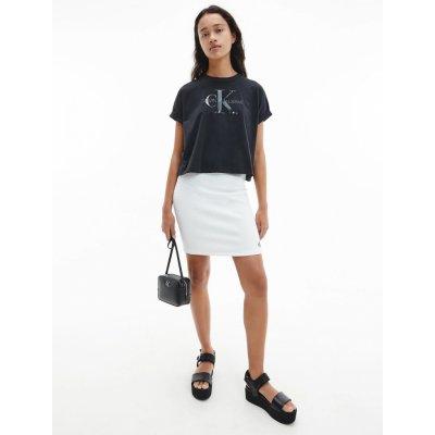 Calvin Klein Jeans dámská bílá sukně Slub Rib Mini Skirt