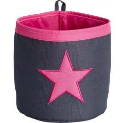 d606a640d LOVE IT STORE IT Malý úložný box kulatý - šedý růžová hvězda