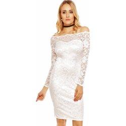 MAYAADI dámské společenské šaty krajkové s dlouhým rukávem krátké bílá d9f8dfc2699