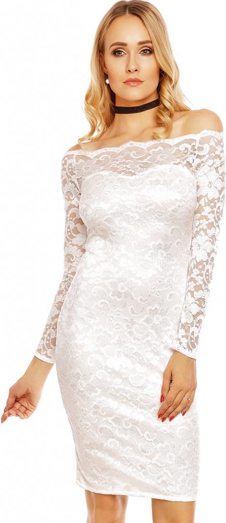 53de9d78ef0 MAYAADI dámské společenské šaty krajkové s dlouhým rukávem krátké bílá