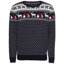 TOM TAILOR Pulovr 'christmas sweater' noční modrá / bílá