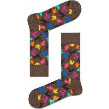 Happy Socks Hnědé ponožky s barevnými jelínky d3d15cd7ee