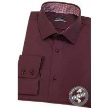 Avantgard Pánská košile SLIM dl.rukáv Bordó 109-21113 2347dd00b8