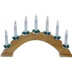 svícen vánoční el. 7 svíček, oblouk, dřev.přírodní