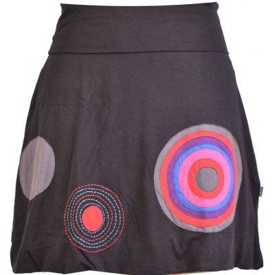 Sanu Babu krátká balonová sukně černá kruhové aplikace elastický pas