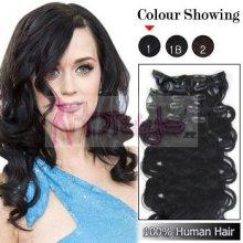 HOTstyle Clip in vlasy vlnité 100% lidské REMY 50cm - černé