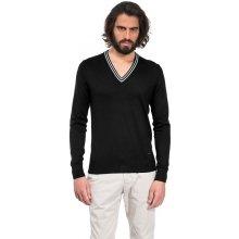 Pánský svetr Vincenzo Boretti černý s bílými doplňky