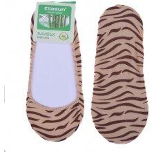 Bambusové ponožky do balerín tygrované - béžová