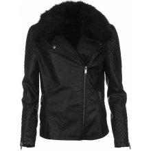 Firetrap Fur Collar PU Jacket dámské černá