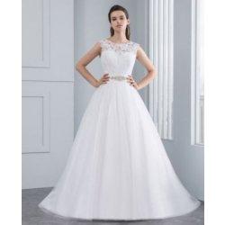 Luxusní svatební šaty s krajkou a knoflíčky 2822-022 bílá invory šampaň fee1e3c931