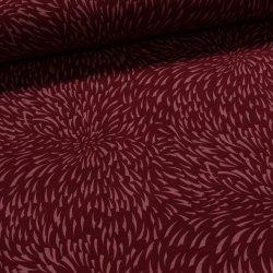 Metráž Směsový úplet WARMKEEPER TEPLÁKOVINA 61110245 růžový vzor na vínové  s vlasem dc651141f9