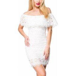 Dámské letní šaty s volánem a krajkou bílá a4a9a80dfd