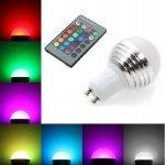 LED žárovka 3W kulatá GU10 RGB