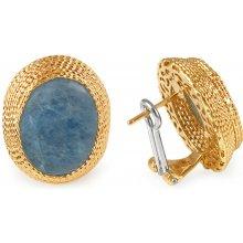 755ce5cc5 iZlato Design zlaté náušnice s modrým kvarcitem IZ9506N