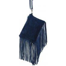 kabelka z brúsenej kože 65 modrá