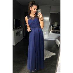 0e44dfa6f704 Eva   Lola dámské společenské a plesové šaty dlouhé pošité perličkami tmavě  modrá
