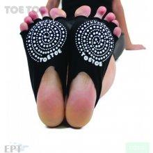 ToeToe HEEL bezprstové joga ABS protiskluzové ponožky černá
