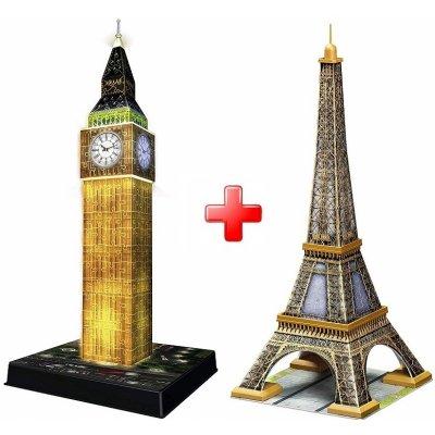 3D puzzle Big Ben - noční edice 216 dílků, Ravensburger + Ravensburger 3D puzzle Eiffelova věž 216 dílků