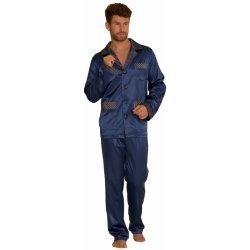 7b0ffa141c95 De Lafense Adam pánské pyžamo dlouhé satén modré