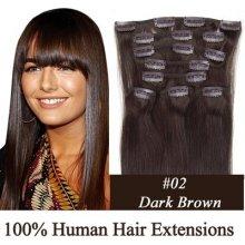 CLIP IN (klipy) pravé lidské vlasy remy 50cm odstín 02 tmavě hnědá 8 částí