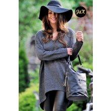 7ff54459178 Fashionweek Báječný lehky pleteny luxusní svetr dámský V-neck JK1 SANDY  grafitová