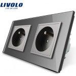 LIVOLO VL-C7C2FR-15 Elektrická dvojitá zásuvka FR - stříbrná