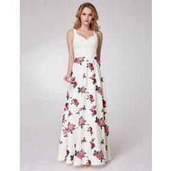 Dámské šaty Ever-Pretty letní šaty s růžemi na dlouhé sukni bílá aa61e366c0