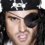 Pirátská páska přes oko saténová