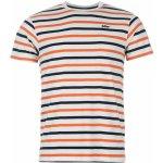 Lee Cooper Yarn Dye Stripe T Shirt Mens Wht/Navy/Orange