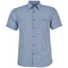 Pierre Cardin Short Sleeve Shirt Mens Blue Check