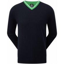 FootJoy svetr Wool Blend V-Neck tmavě modro zelený