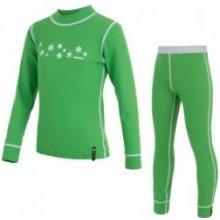 SENSOR DOUBLE FACE dětský komplet triko + spodky vločky zelená