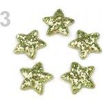 Vánoční hvězda Ø35mm s flitry zelená travní sv. 50 ks