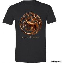CurePink Pánské tričko Game Of Thrones/Hra o trůny: Chrome Targaryen Sigil černé