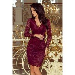 4e7a2ea067b4 Dámské šaty Numoco luxusní dámské krajkové šaty Olivia 170-5 vínová