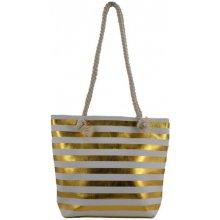 9d4b1bdb42 plážová taška Stripe Beach bílá   zlatá