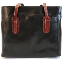 Tříoddílová černo-tmavěhnědá kožená kabelka na rameno no. 99 od 2 ... 398382d8e0
