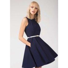 d2c6de32d428 Closet dámské šaty s páskem D3739 tmavě modrá